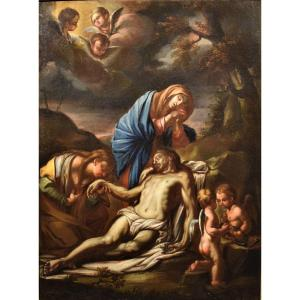 Lamentation Of The Virgin With The Magdalene Over Christ - Italy XVIIth Century