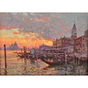 Coucher De Soleil Spectaculaire à Venise