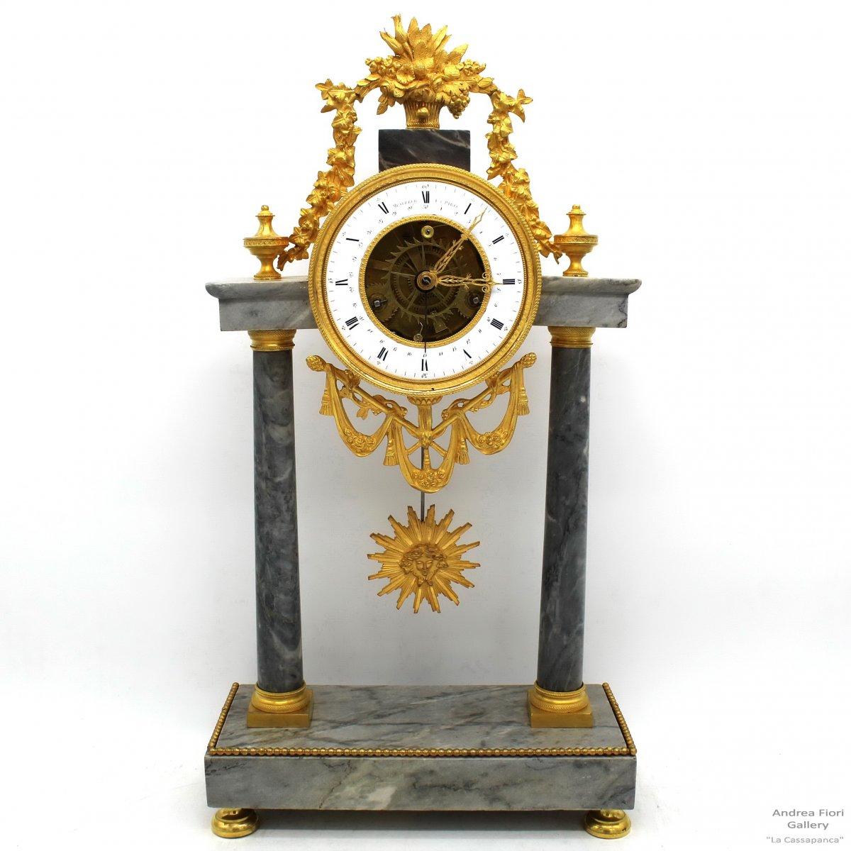 Antique Pendulum Mantel Clock Ormolu In Bronze And Marble - Republican Hour 1793 Ca.