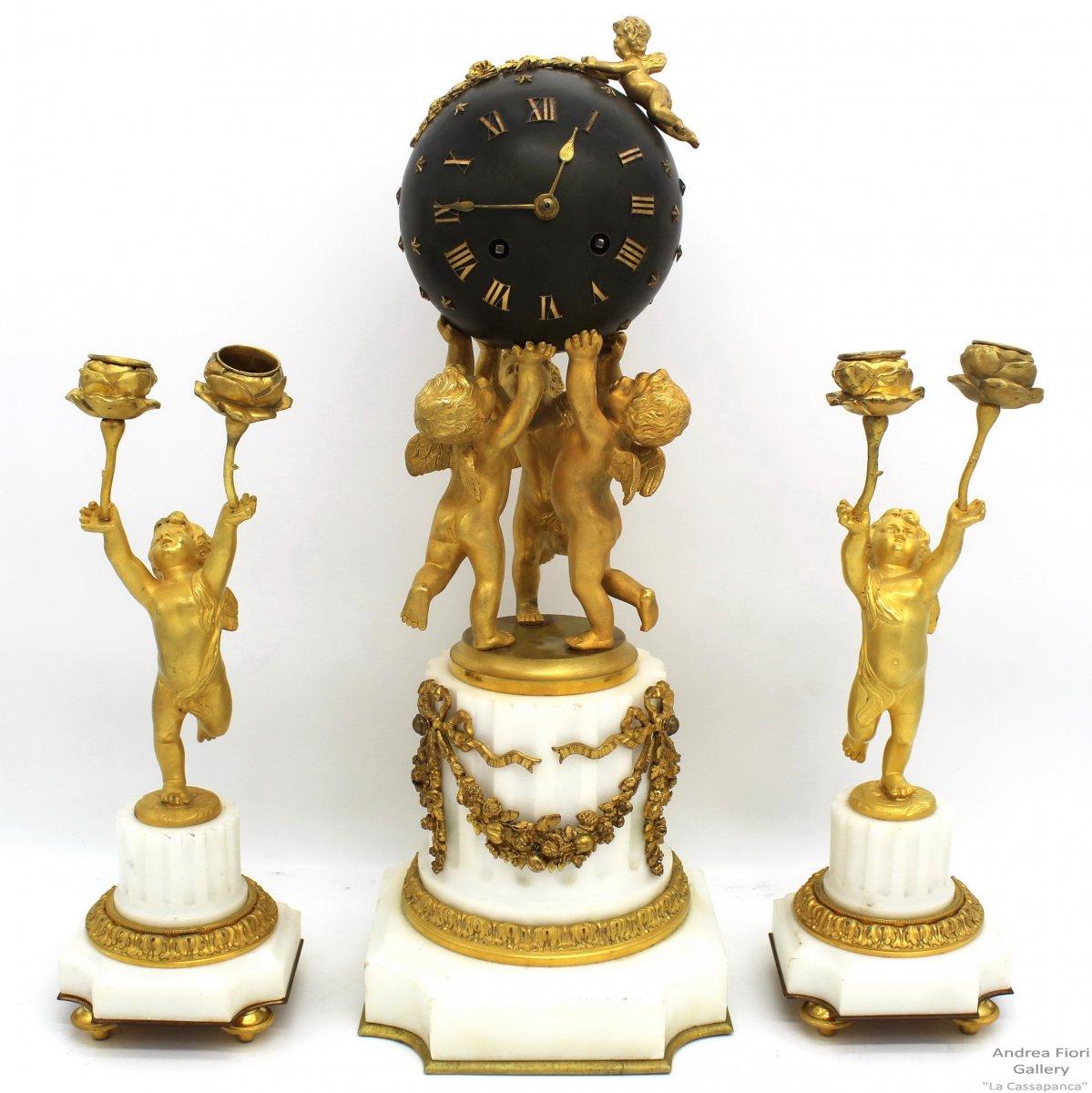Ancien Garniture - Horloge Pendule et paire Candelabres d'époque Napoleon III bronze doré 19ème