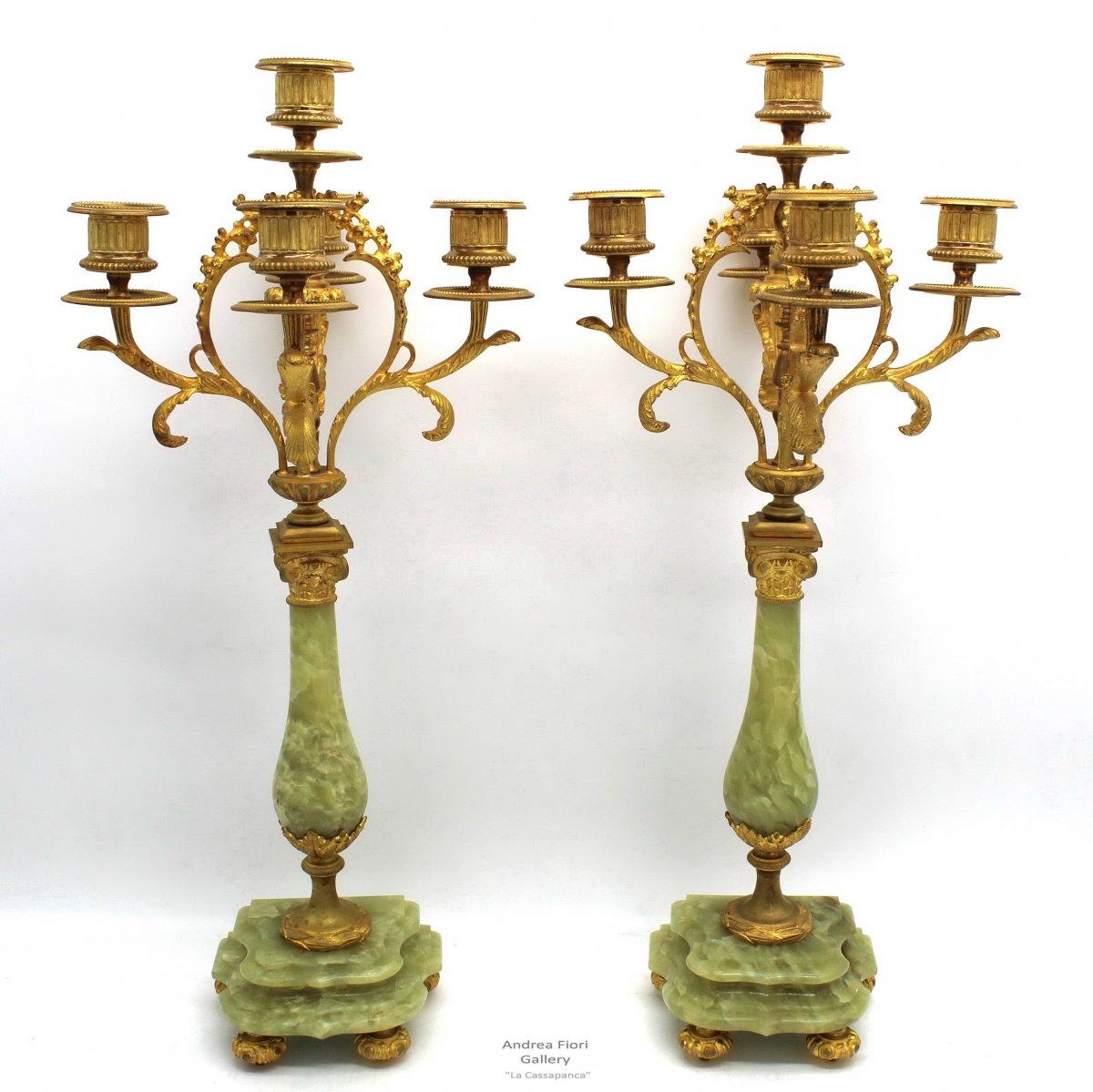 Ancien Paire de Chandeliers Candelabres Bougeoirs d'époque Napoleon III en bronze doré et onyx - du 19ème