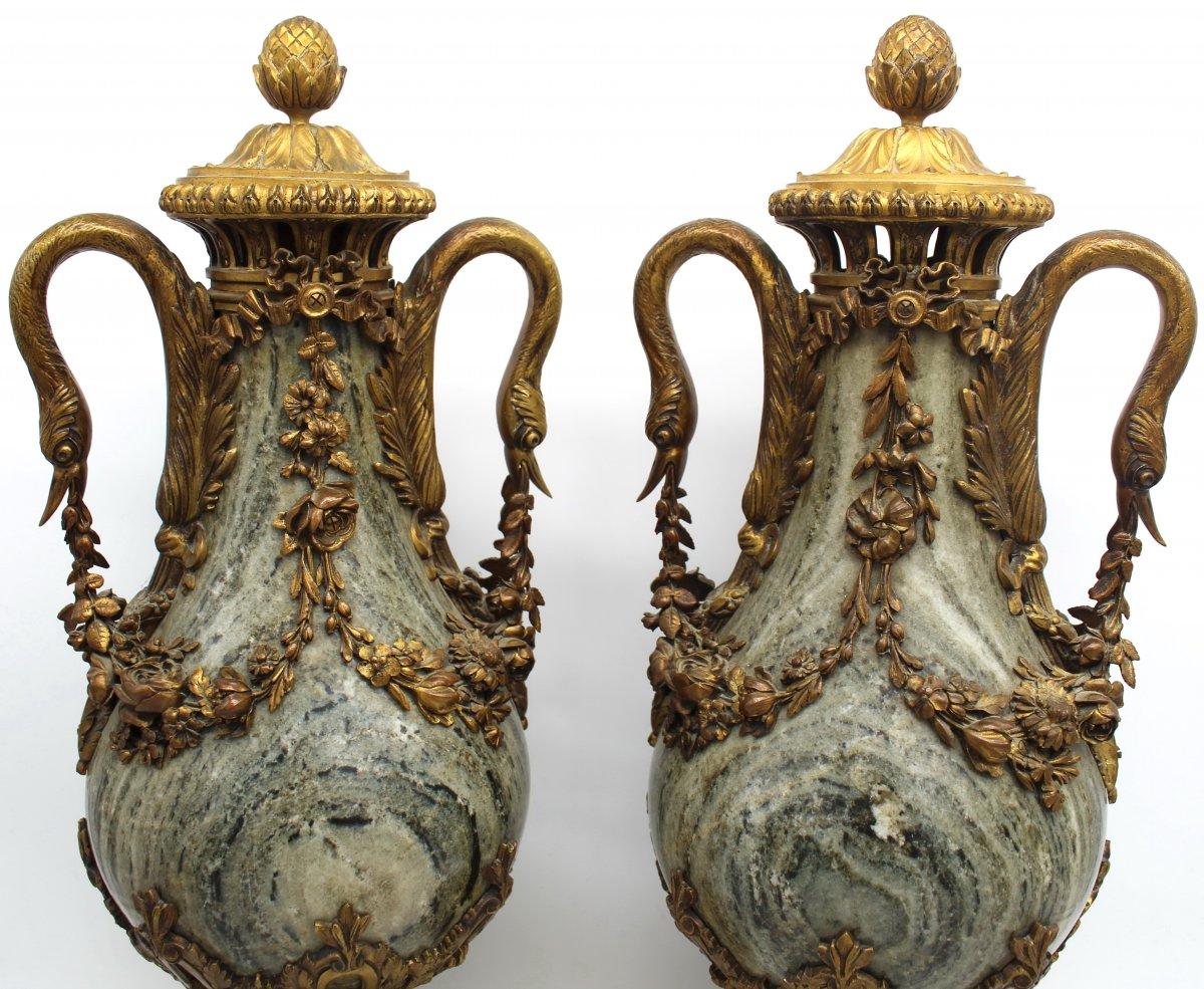Ancien Grand paire de Vases Cassolettes d'époque Napoleon III en Bronze doré et marbre (H.53) - du 19ème siècle