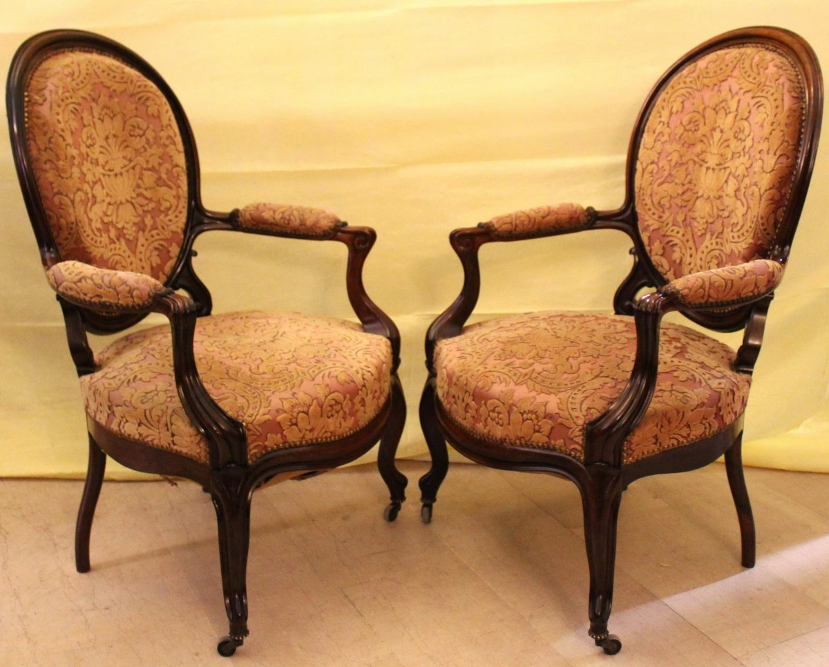 Antique Pair Of Louis Philippe Armchairs In Rosewood - 19th Century-photo-3