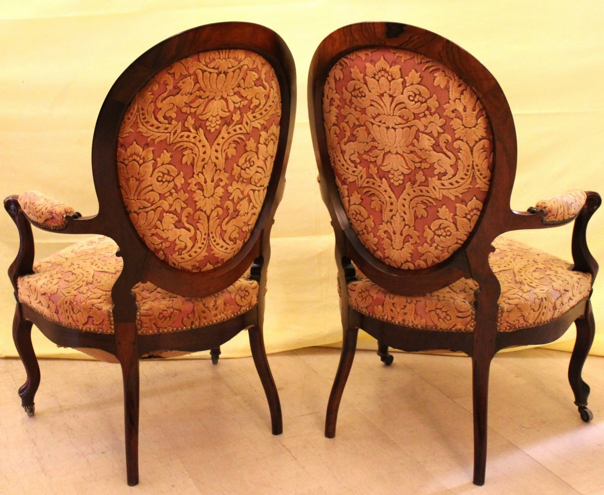 Antique Pair Of Louis Philippe Armchairs In Rosewood - 19th Century-photo-1