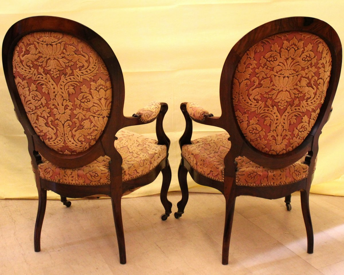 Antique Pair Of Louis Philippe Armchairs In Rosewood - 19th Century-photo-2