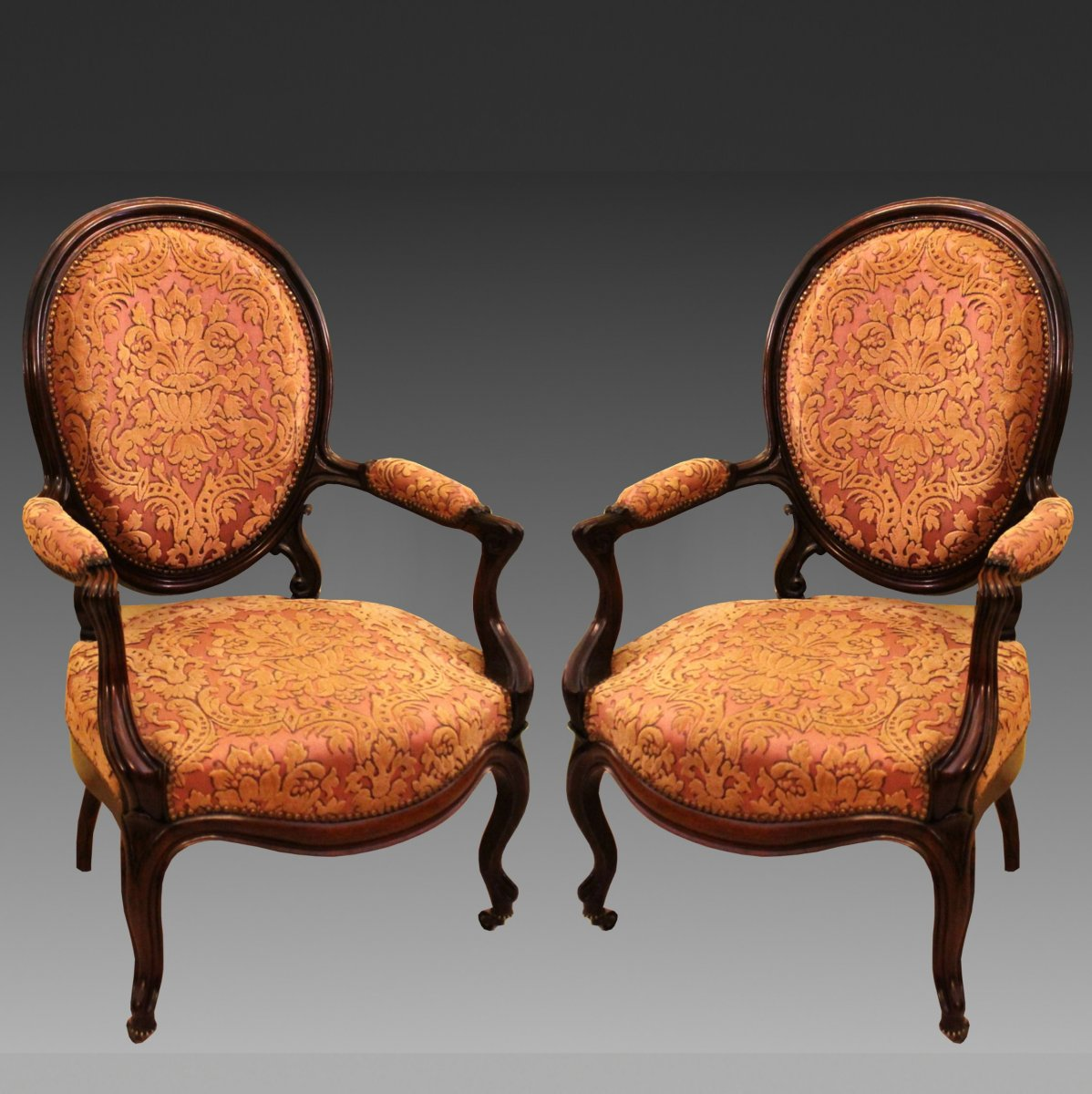 Antique Pair Of Louis Philippe Armchairs In Rosewood - 19th Century