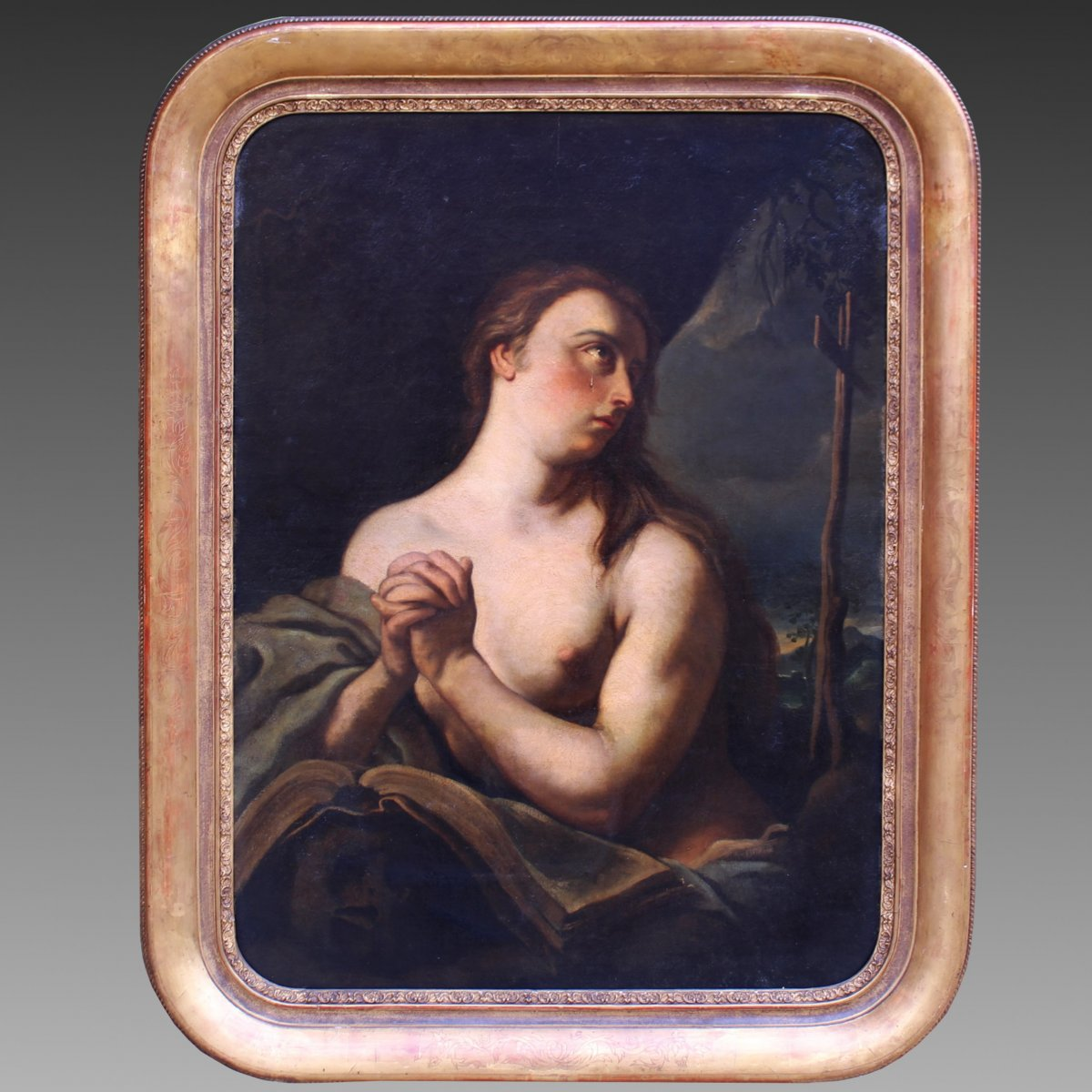 Antique Painting Oil On Canvas With Gilt Frame - 18th Century