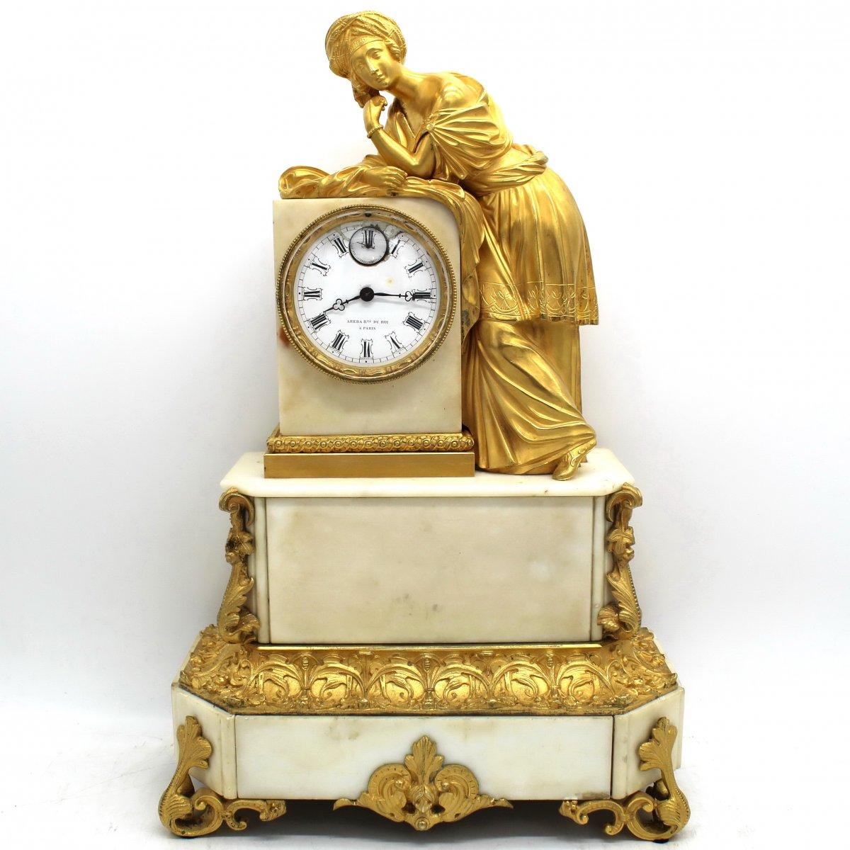 Ancien Horloge Pendule d'époque Louis Philippe en bronze doré et marbre - 19ème siècle