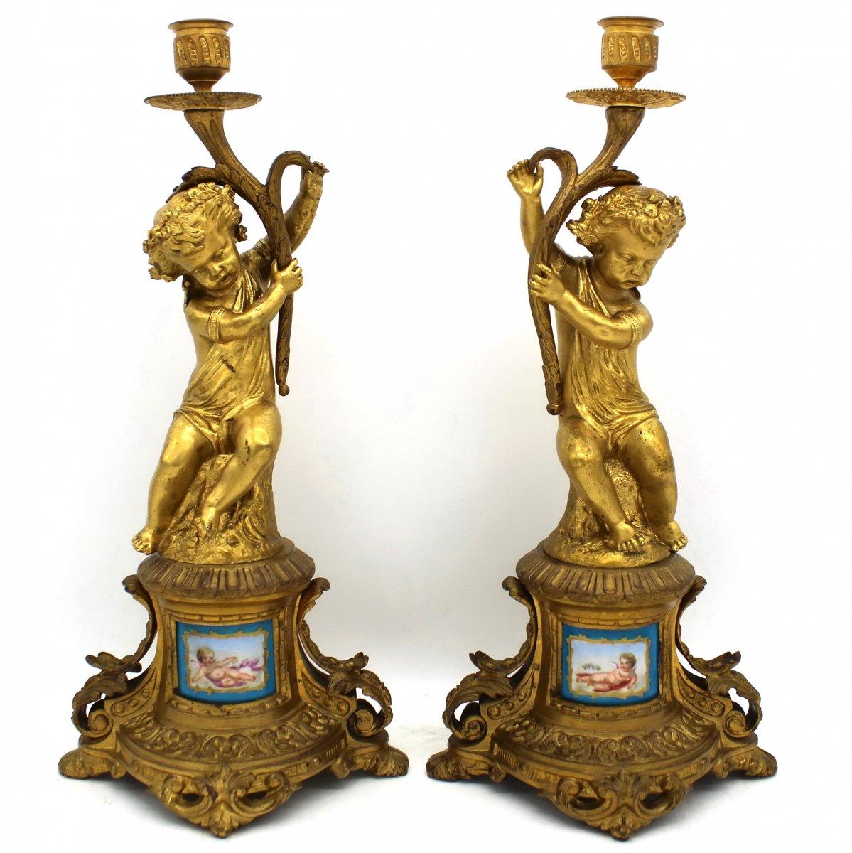 Ancien Paire Chandeliers Candelabres Bougeoirs d'époque Napoleon III Bronze et Porcelaine 19ème