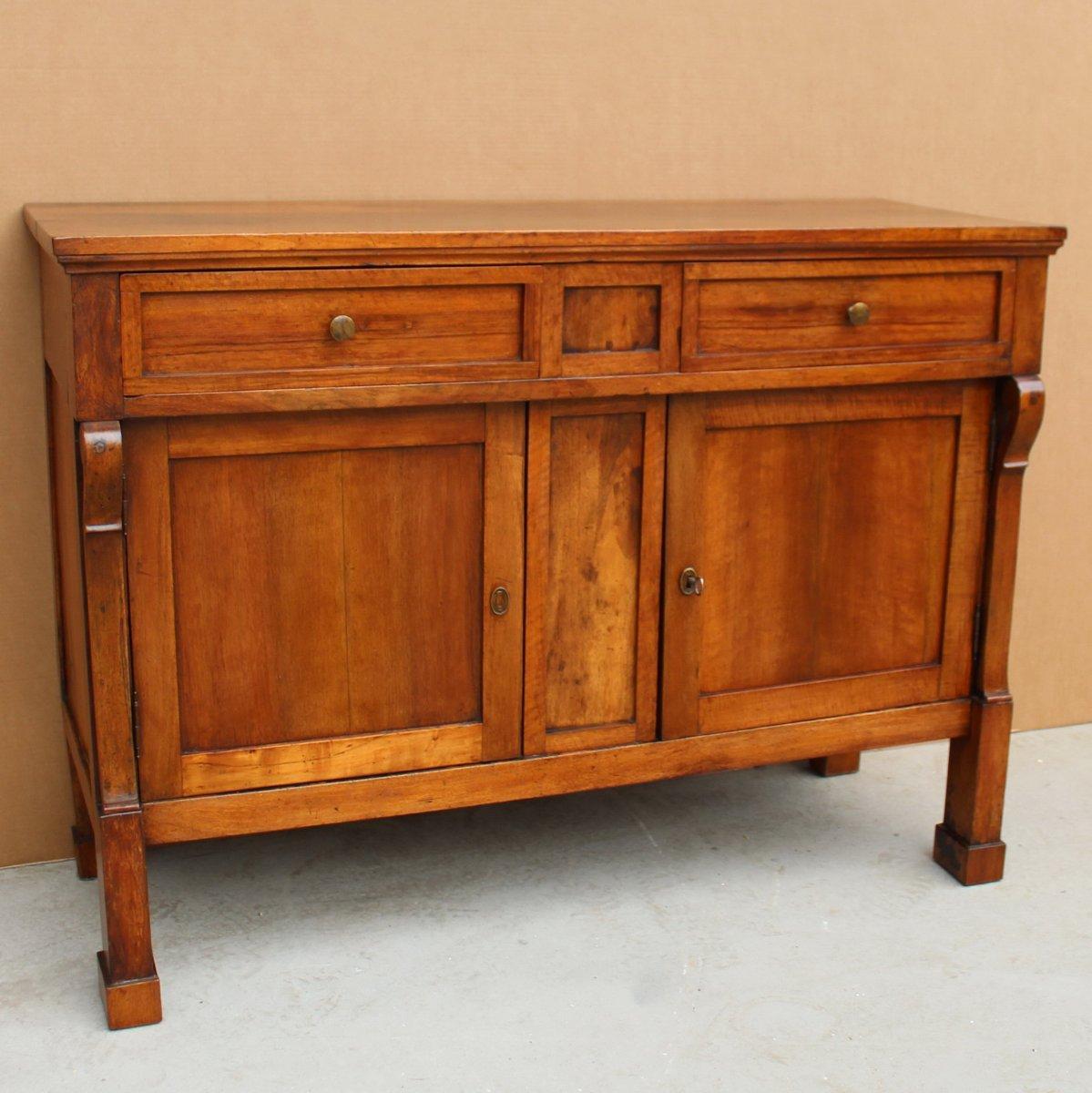 Antique Empire Sideboard Dresser Cabinet Cupboard Buffet In Walnut - Italy 19th-photo-2