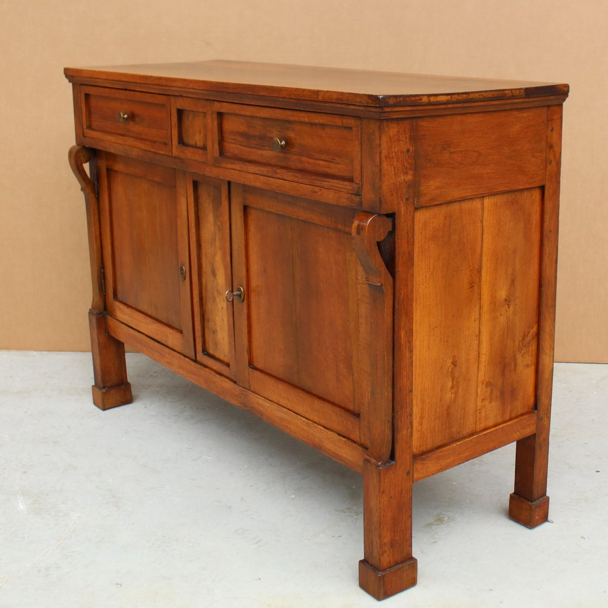 Antique Empire Sideboard Dresser Cabinet Cupboard Buffet In Walnut - Italy 19th-photo-3