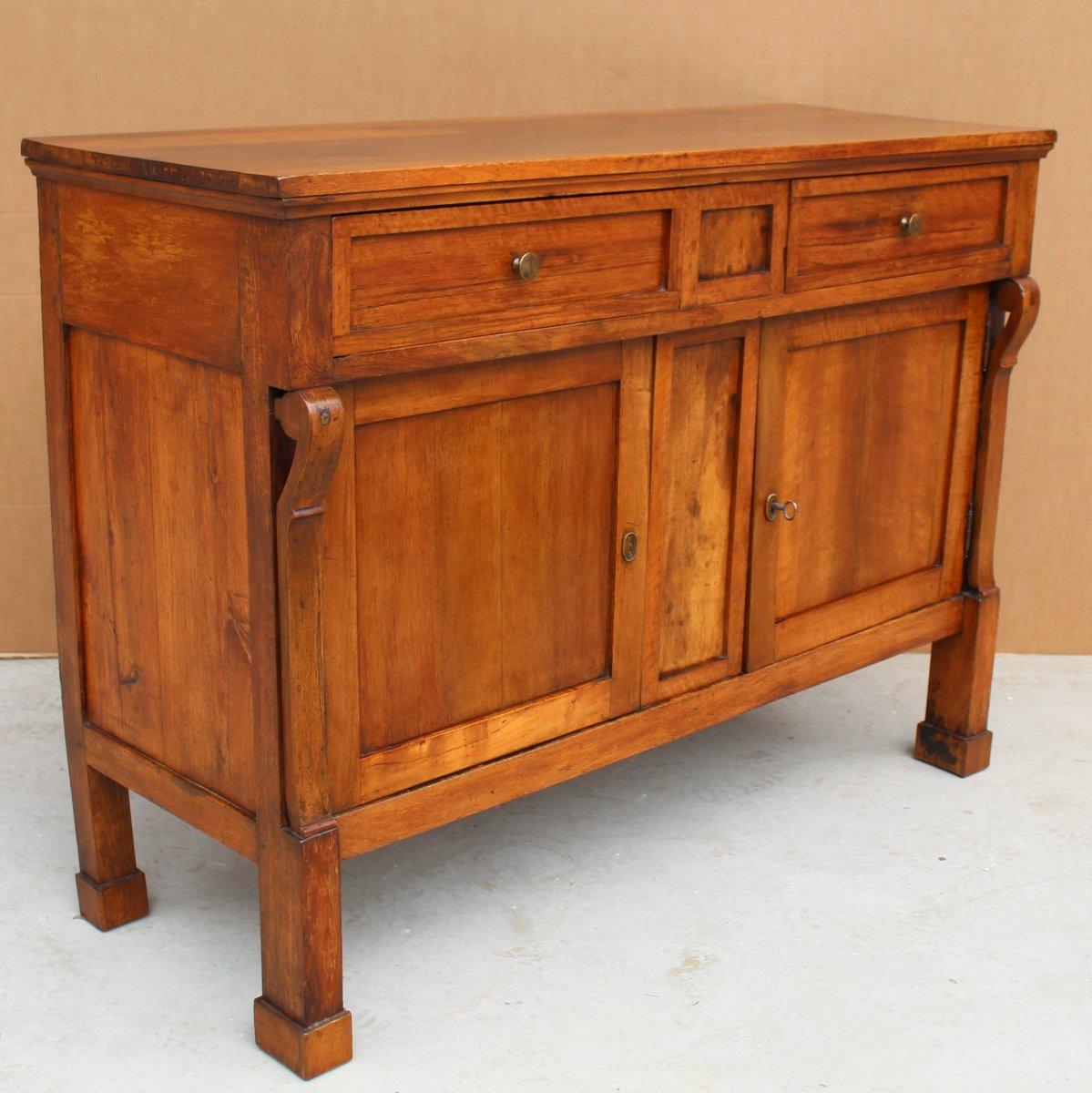 Antique Empire Sideboard Dresser Cabinet Cupboard Buffet In Walnut - Italy 19th-photo-4