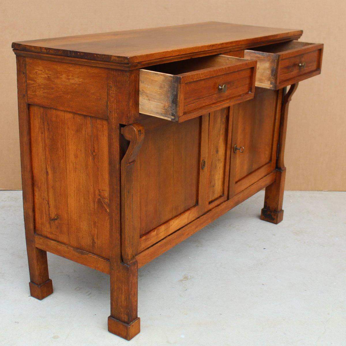 Antique Empire Sideboard Dresser Cabinet Cupboard Buffet In Walnut - Italy 19th-photo-1
