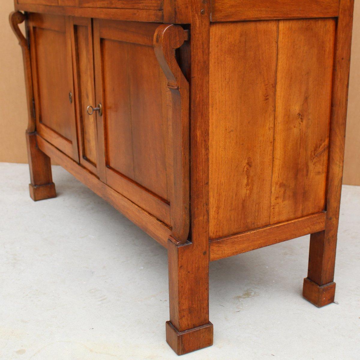 Antique Empire Sideboard Dresser Cabinet Cupboard Buffet In Walnut - Italy 19th-photo-6