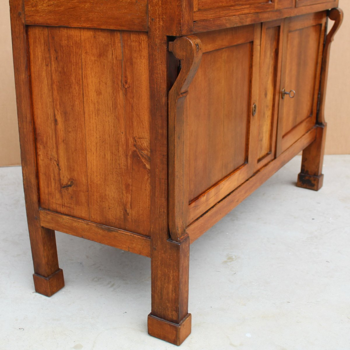 Antique Empire Sideboard Dresser Cabinet Cupboard Buffet In Walnut - Italy 19th-photo-7