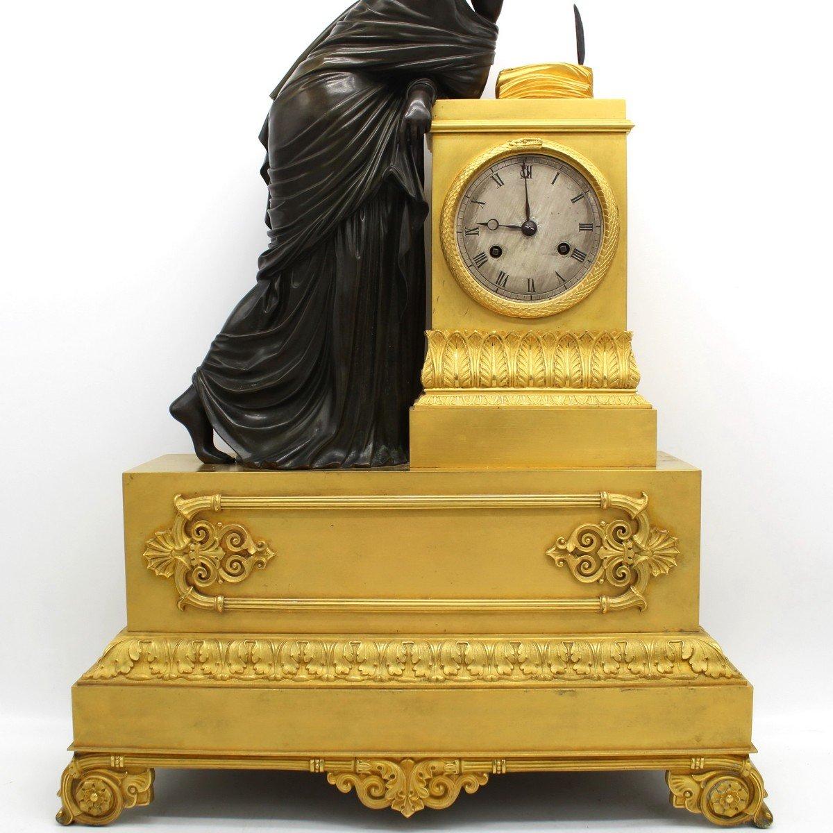 Ancien Horloge Pendule d'époque Empire en bronze dorè (H.61) - 19ème -photo-1