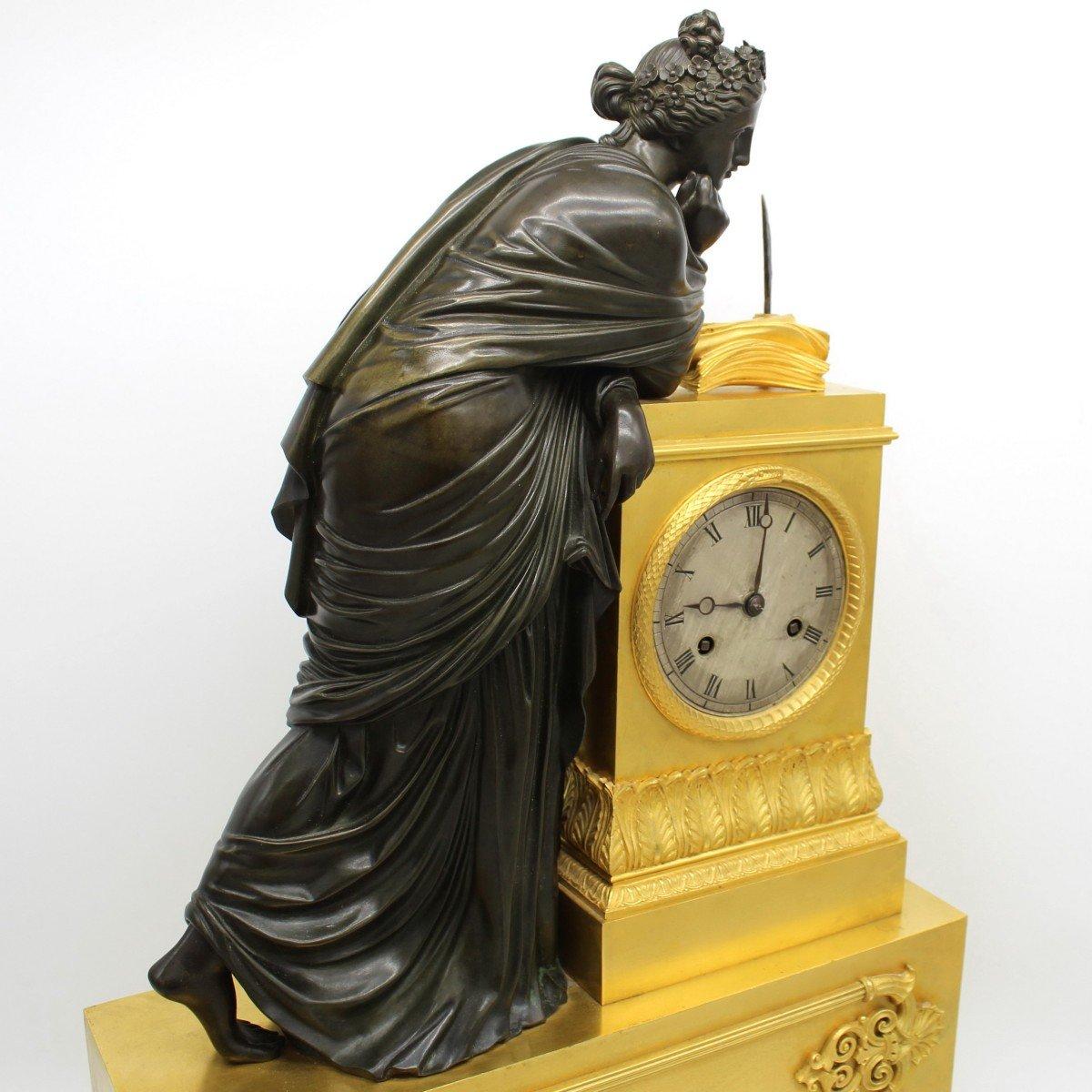 Ancien Horloge Pendule d'époque Empire en bronze dorè (H.61) - 19ème -photo-2
