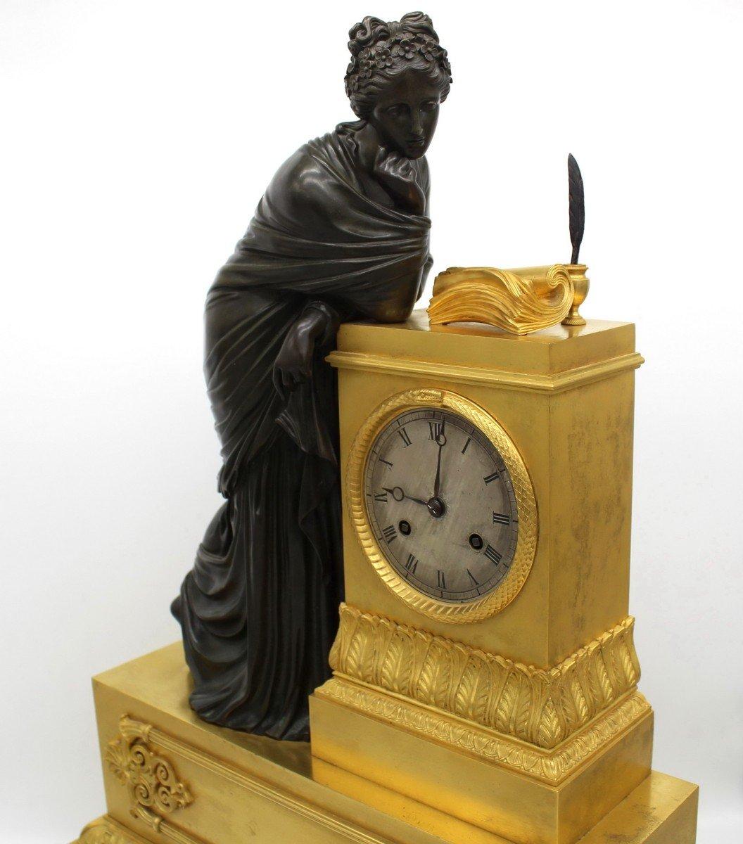 Ancien Horloge Pendule d'époque Empire en bronze dorè (H.61) - 19ème -photo-3