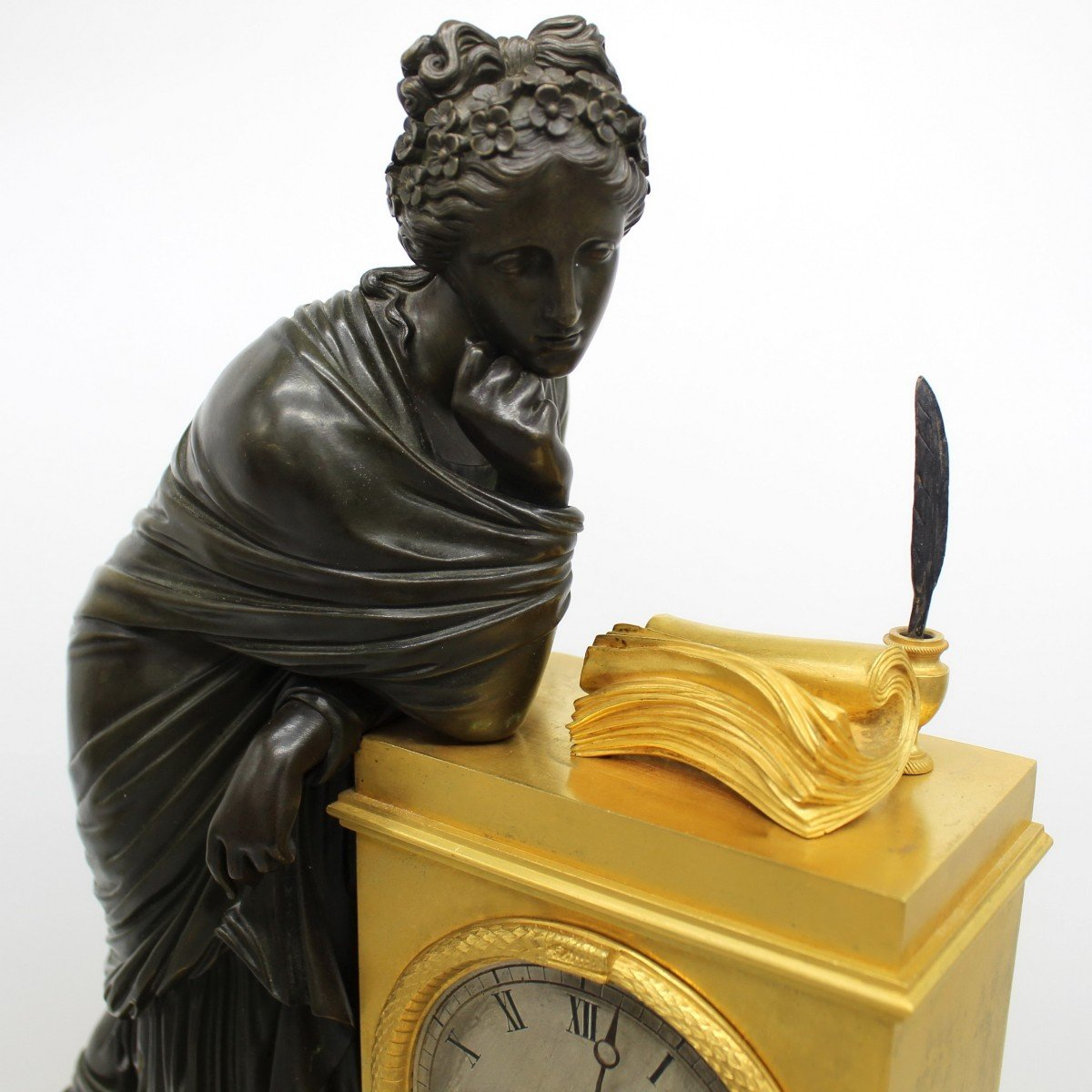 Ancien Horloge Pendule d'époque Empire en bronze dorè (H.61) - 19ème -photo-4