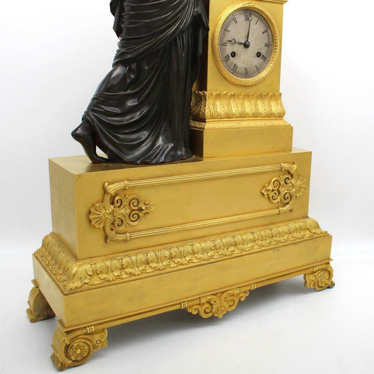 Ancien Horloge Pendule d'époque Empire en bronze dorè (H.61) - 19ème -photo-5