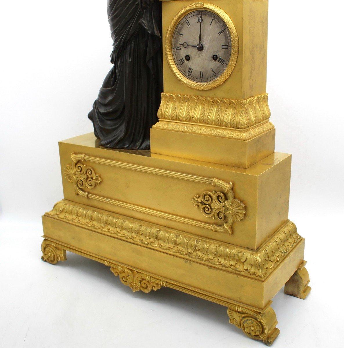 Ancien Horloge Pendule d'époque Empire en bronze dorè (H.61) - 19ème -photo-6