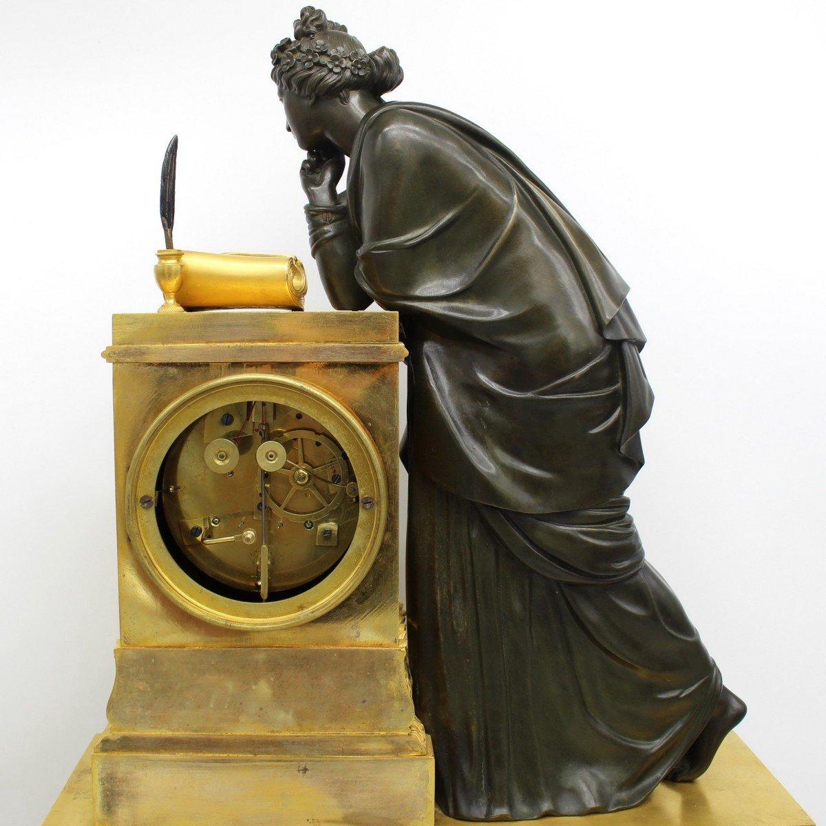 Ancien Horloge Pendule d'époque Empire en bronze dorè (H.61) - 19ème -photo-7