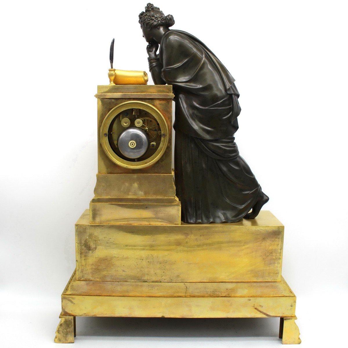 Ancien Horloge Pendule d'époque Empire en bronze dorè (H.61) - 19ème -photo-8