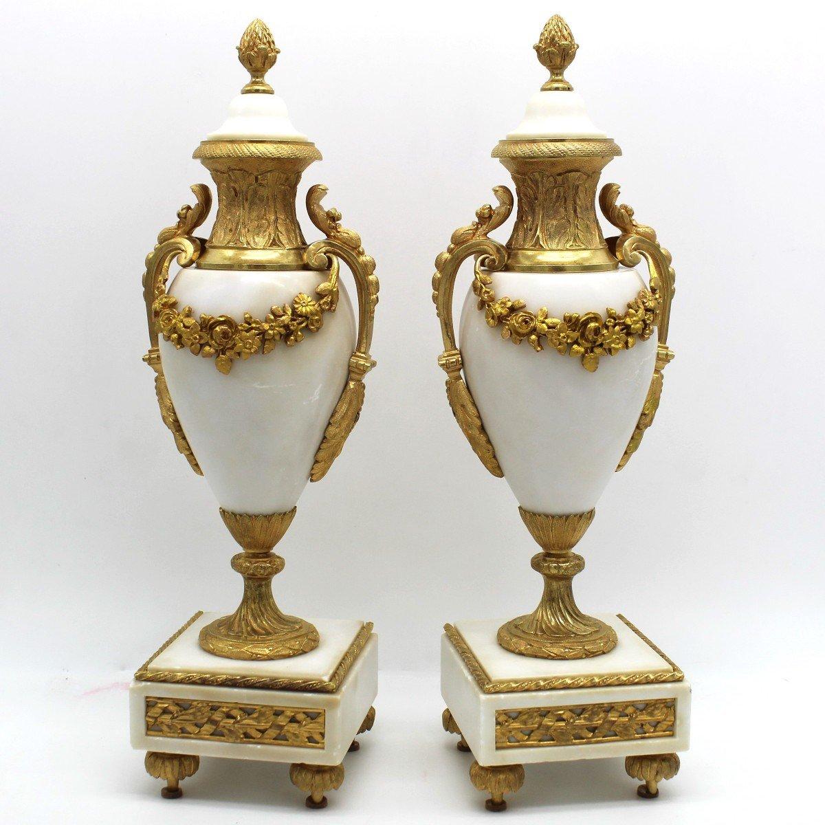 Antique Pair Of Napoleon III Cassolette Vases In Gilt Bronze - 19th-photo-3