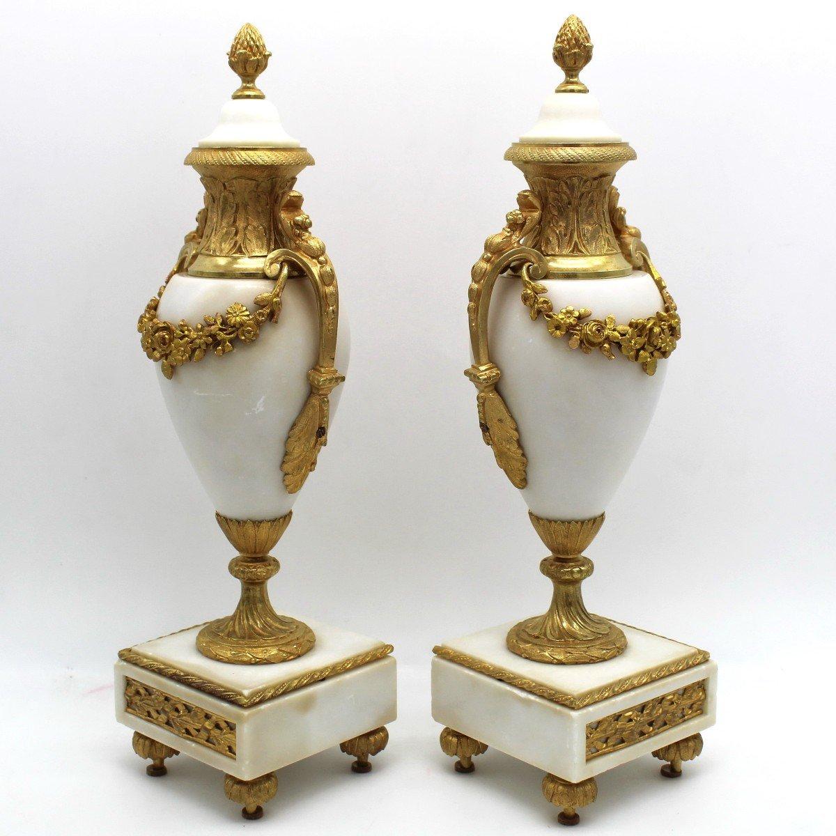 Antique Pair Of Napoleon III Cassolette Vases In Gilt Bronze - 19th-photo-4