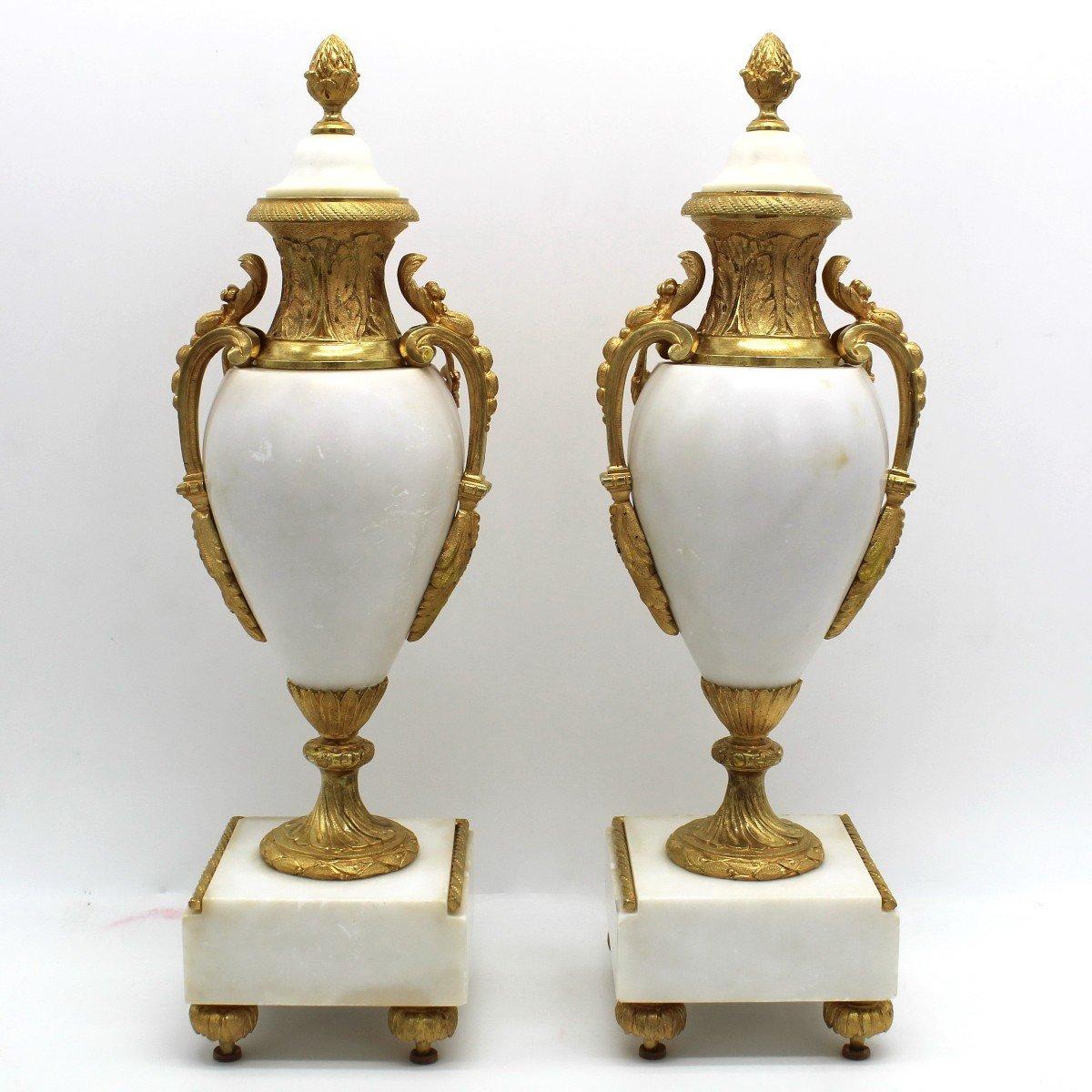 Antique Pair Of Napoleon III Cassolette Vases In Gilt Bronze - 19th-photo-2