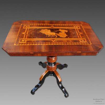 Ancien Table Gueridon Louis Philippe en noyer et marqueterie Rolo - Italie du 19ème siècle