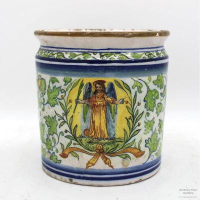 Antique Majolica Pharmacy Vase Jar Ceramic Sassuolo Dallari - Italy 18th Century