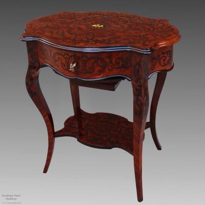 Ancien petite Table d'époque Napoleon III en marqueterie - du 19ème siècle