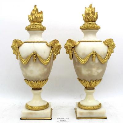 Ancien Paire Cassolettes Chandeliers Bougeoirs d'époque Napoleon III en bronze et marbre 19ème