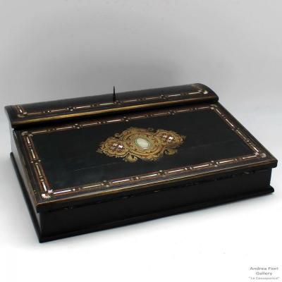 Antique Napoleon III Travel Box Writing Stamped In Inlaid Mother Of Pearl - 19th Century