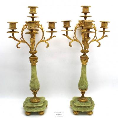 Antique Pair Of Napoleon III Candlesticks In Bronze And Onyx - 19th Century