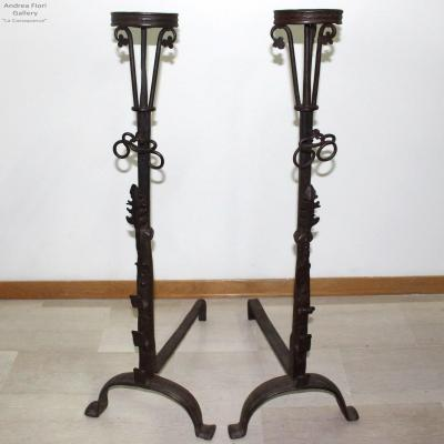 Antique Pair Of Andirons Fireplace In Wrought Iron (h.103) - Italy 17th Century