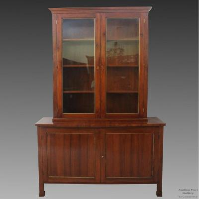 Antique Charles X Showcase Dresser Cabinet Bookcase In Walnut - Italy 19th Century