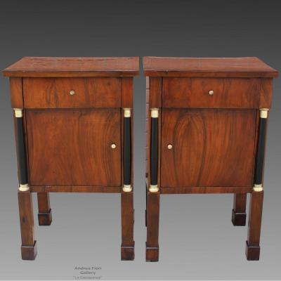 Antique Pair Of Empire Bedsides Tables Cabinets In Walnut - Italy 19th Century
