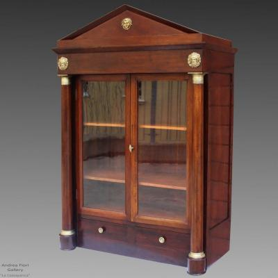 Antique Empire Showcase Wall Unit  Cabinet In Mahogany - 19th Century