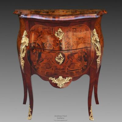 Antique Napoleon III Dresser Commode Chest Of Drawers Inlaid - 19th Century