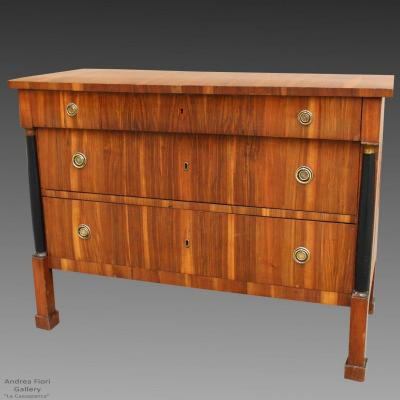 Antique Empire Dresser Commode Chest Of Drawers In Walnut - Italy 19th Century