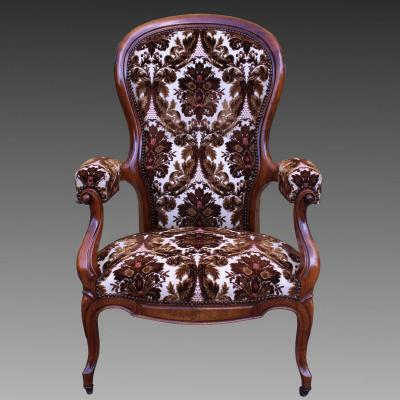 Antique Louis Philippe Reclining Armchair In Walnut - 19th Century