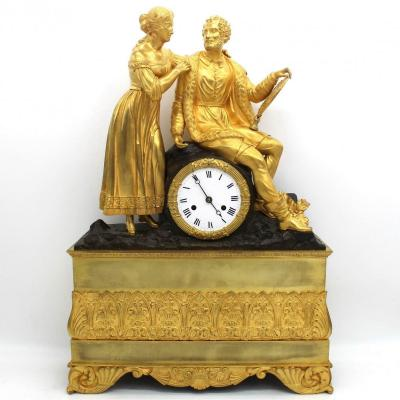 Antique Charles X Pendulum Mantel Clock Ormolu In Bronze (h.55) - 19th Century