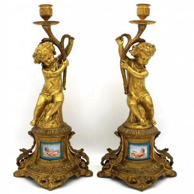 Antique Pair Of Napoleon III Candlesticks In Bronze And Painted Porcelain - 19th Century