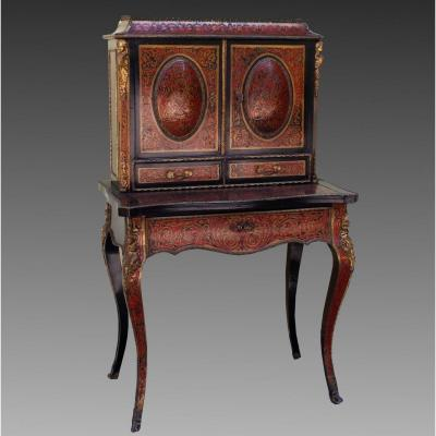 Antique Napoleon III Bureau Table Writing Desk Marquetry Boulle - 19th Century
