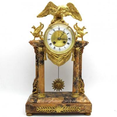 Ancien Horloge Pendule Portique d'époque II°Empire en bronze dorè et marbre - 19ème siècle