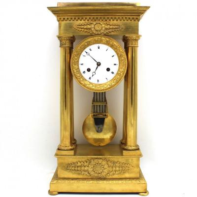 Ancien Horloge Pendule Portique d'époque Empire en bronze dorè (H.51) - 19ème siècle