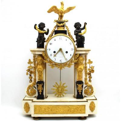 Antique Louis XVI Pendulum Mantel Clock Ormolu In Bronze And Marble (h.63) - 18th