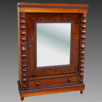 Antique Small Showcase Cabinet In Mahogany - 19th Century
